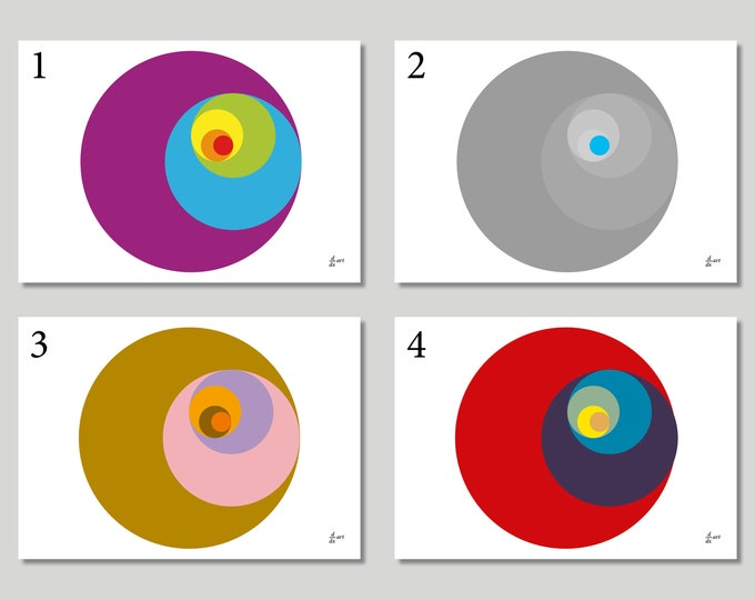 Golden Ratio Circles (Variants 1-4) [mathematical abstract art print, unframed] A4/A3 sizes