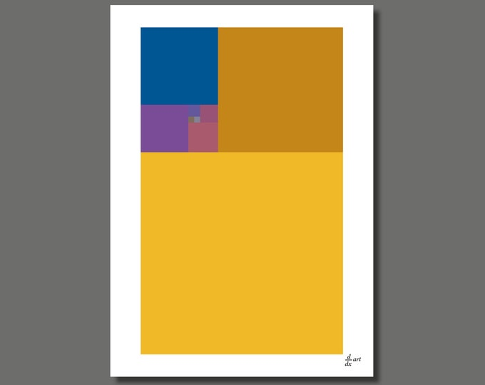 Fibonacci Autumn [mathematical abstract art print, unframed] A4/A3 sizes