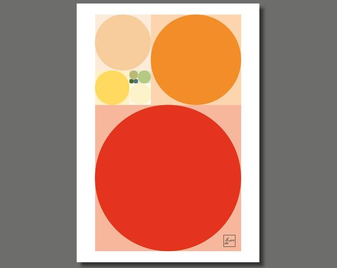 Fibonacci Summer circles [A4 size art print]