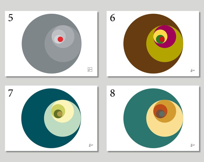 Golden Ratio Circles (Variants 5-8) [mathematical abstract art print, unframed] A4/A3 sizes