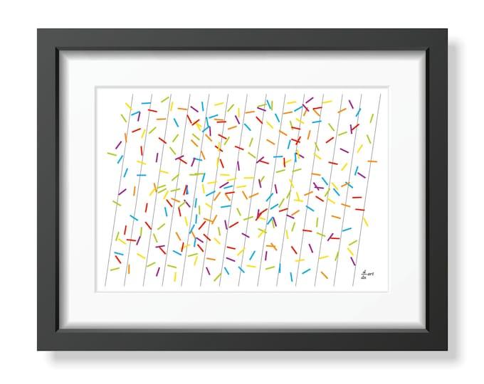 Pi sticks 01 [mathematical abstract art print, unframed] A4/A3 sizes