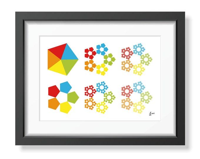 Sierpinski pentagons 01 [mathematical abstract art print, unframed] A4/A3 sizes