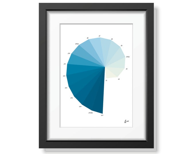 Nautilus Ice [mathematical abstract art print, unframed] A4/A3 sizes