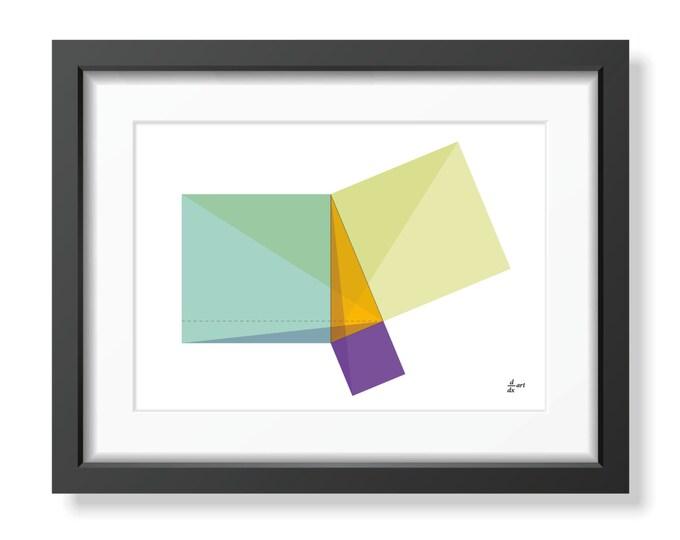 Pythagoras 01 [mathematical abstract art print, unframed] A4/A3 sizes