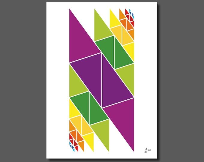 Golden ratio triangles assembled 02 [mathematical abstract art print, unframed] A4/A3 sizes