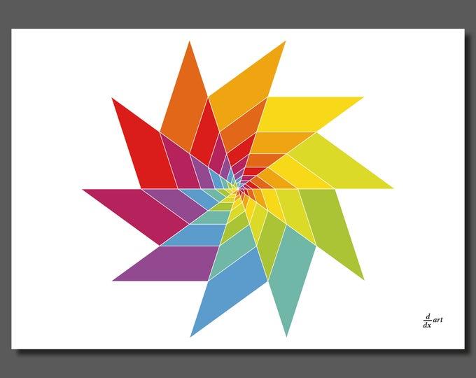 Golden ratio triangles assembled 04 [mathematical abstract art print, unframed] A4/A3 sizes