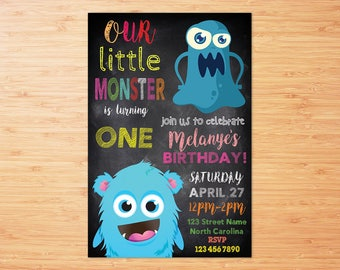 Monster Birthday Party, Monster 1st Birthday, Monster Birthday Invitation, Monster Invitation, Invite, Little Monster, DIGITAL FILE
