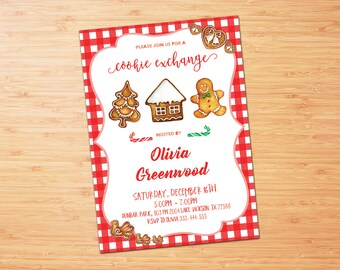 Christmas Cookie Exchange Invitation - Vintage holiday Party - Cookie Swap Invite, Plaid, Holiday Party Invitation, Christmas Birthday