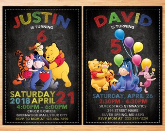 Winnie The Pooh Invitation, Winnie The Pooh Birthday Invitation, Winnie The Pooh Party Invite, Winnie The Pooh Personalized Invitation