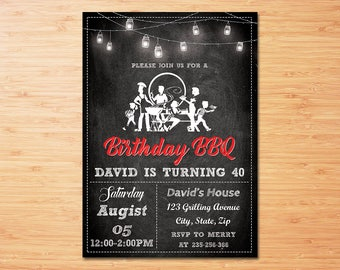 BBQ Invitations , BBQ Birthday , BBQ Party Invitations , Barbecue Party