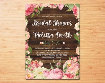 Rustic Bridal Shower Invitation Printable, Rose Floral Couples Shower, Wedding Shower, Personalized Printable Invitation