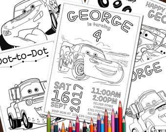 Cars Digital 5 Coloring Pages, Birthday Wedding Activity Sheet, Disney Cars Printable, McQueen Birthday Party Favor