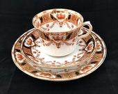 Imari Style Tea Trio, Tea Cup, Saucer, Side Plate, English Hand Painted Transferware Porcelain, 1920 39 s Roslyn China, Reid Co, Immaculate