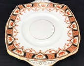 Imari Style Cake Plate 10 quot Sandwich Platter, English Hand Painted Transferware Porcelain, 1920 39 s Roslyn China Reid Co, Very Good Condition