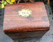 Antique Wooden Tea Caddy, 19th Century Brass Hand Hammer Etched Plaque 39 Tea 39 on Top and Key Plate on Front, Handmade Circa 1900, 5.5 quot x 4.25