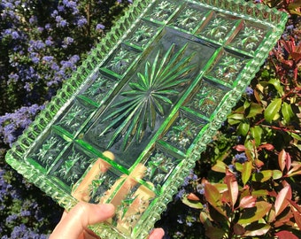"""Green Glass Tray, Pressed Glass, Art Deco Piece circa 1940, Dressing Table Tray, 10.75"""" x 7"""" x 0.75"""" Immaculate Condition"""