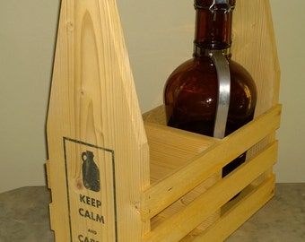 Rustic Wooden Caddy for German Growlers