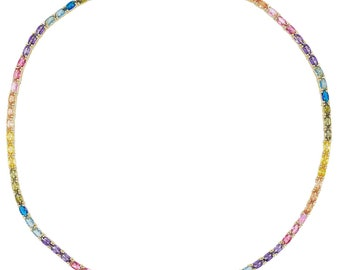 395161a0a1b Tennis necklace oval shape stones