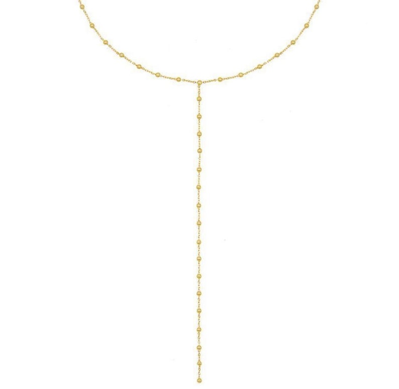 Ball chain Gold lariat necklace