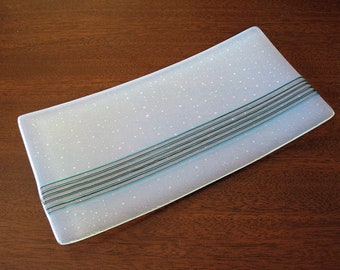 White Fused Glass Plate with Blue and Black Ribbon - White Glass Sushi Plate - Gift with Style