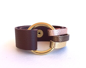 Handmade Leather Bracelet, Leather Cuff Bracelet, Leather Wrap Bracelet, OOAK Bracelet, Rose Gold, Brown Leather Cuff, Brass Ring Bracelet