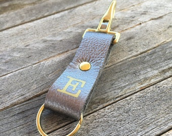 Keychain Clip, Gunmetal Leather Key Fob, Monogrammed Keychain, Key Holder Leather, Brass Keyring, Personalised Keyring