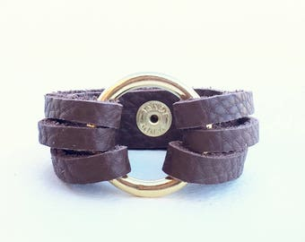 Handmade Leather Brass Bracelet, Brown Wrap Bracelet, Leather Cuff Bracelets for Women, Circle Bracelet