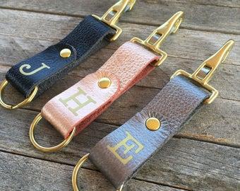 Personalized Keychain Leather, Monogrammed Keychain, Metallic Leather Key Fob, Custom Key Chain, Leather Keyring, Keychains for Women