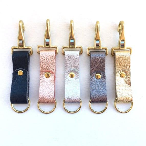 Handmade Leather Keychain Metallic Leather Key Fob Custom  a4f309b998