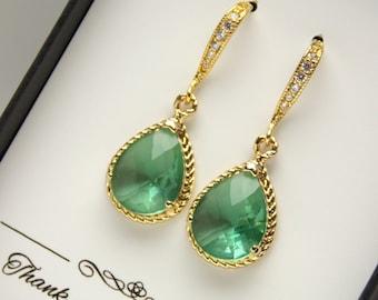 Green Bridesmaid Earrings, Gold Aqua Chrysolite Bridesmaid Earrings, Wedding Jewelry, Cubic Zirconia, Wedding Earrings, Bridesmaid Jewelry