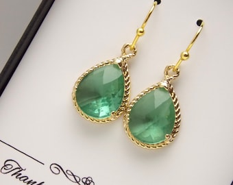 Green Bridesmaid Earrings, Gold Aqua Green Mint Chrysolite Earrings, Wedding Jewelry, Wedding Earrings, Bridesmaid Jewelry, Bridesmaid Gifts