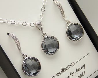Gray Earrings and Necklace Set, Gray Bridesmaid Jewelry Set, Charcoal Wedding Jewelry, Bridesmaid Gifts, Cubic Zirconia, Sterling Silver
