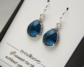 Navy Blue Earrings, Navy Bridesmaid Earrings, Wedding Jewelry, Dark Blue Navy Wedding, Silver, Bridesmaid Jewelry, Bridesmaid Gifts, Glass
