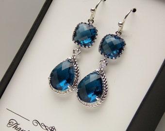 Navy Blue Earrings, Navy Bridesmaid Earrings, Dark Blue, Blue Wedding Jewelry, Silver, Dangle, Glass, Bridesmaid Jewelry, Bridesmaid Gifts