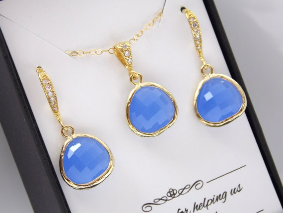 Sky Blue Bridesmaid Gift Set Gold Filled Soft Blue Jewelry Set Blue Earring and Necklace Set Bridal Set Perikinkle Gold Blue Necklace