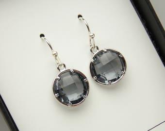 Gray Earrings, Grey Earrings, Bridesmaid Earrings, Silver Gray Earrings, Charcoal, Wedding Jewelry, Bridesmaid Jewelry, Bridesmaid Gifts