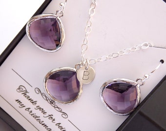 Silver Purple Earrings and Necklace Set, Bridesmaid Jewelry Set, Amethyst, Tanzanite, Bridesmaid Gift Set, Wedding, Initial, Sterling Silver