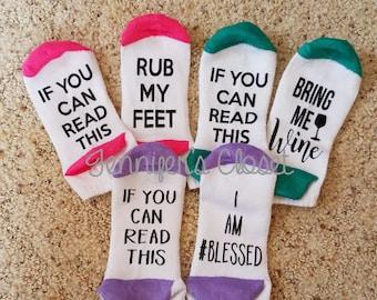 If you can read this socks, Bring Me Wine, Novelty Socks, Funny socks, Ankle Socks, Knee Socks, Ladies Socks, Fun Socks, Mother's Day, Gift