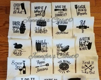 Dish Towels, Kitchen Towels, New Home Gift, Funny Gifts, Flour Sack Towel, Hostess Gift, Towels, Mother, Father, Christmas, wedding Gifts