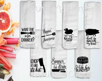 Kitchen Towels, Flour Sack Towels, Kitchen Decor, Hostess Gift, Kitchen Puns, Dish Towel, Kitchen Towel, Tea Towel, White
