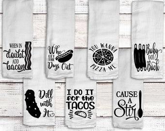 Funny, Kitchen Towel, Flour Sack Towels, Kitchen Decor, Hostess Gift, Kitchen Towels, Dish Towel, Song Lyric Towel, Kitchen Towel, Tea Towel