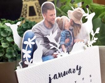 Customize 2018 Minimalist Paper Cut Desk Calendar with Solid Wood Stand \ 2018 Desk Calendar \ Customize Your Own Photo \
