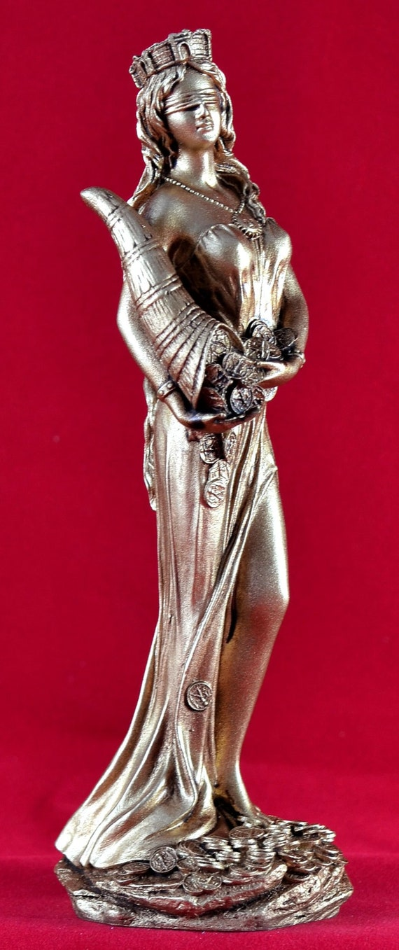 Fate Fortuna Tyche Greek Goddess of Luck and Fortune Gold Patina Statue NEW