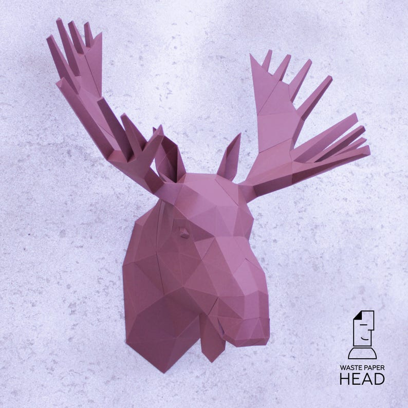 graphic about Moose Template Printable referred to as 26 - papercraft MOOSE Mind - printable electronic template