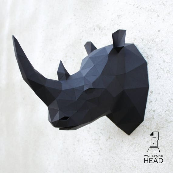 papercraft rhino head digital template etsy
