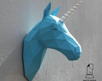 04 - paper unicorn head - printable digital template