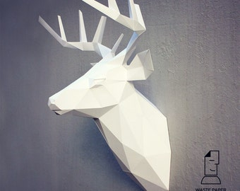 19 - papercraft deer head 3 - printable digital template