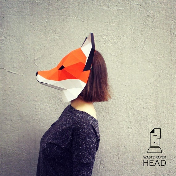 11 Papercraft FOX MASK Printable Digital Template