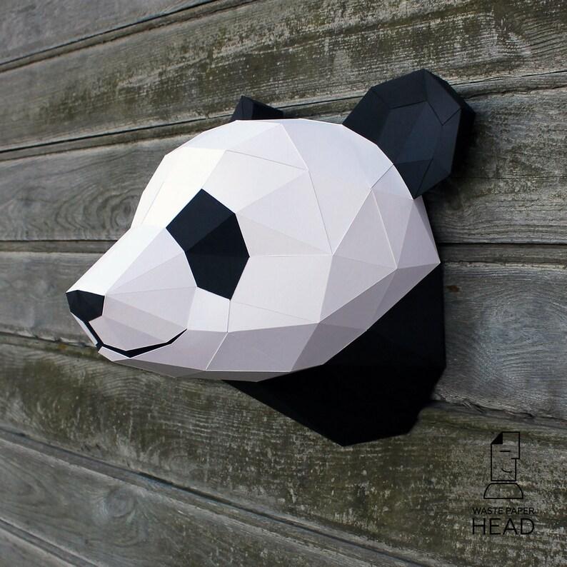 01  papercraft panda head  printable digital template image 0