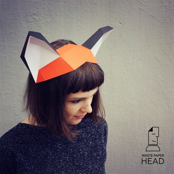 papercraft fox ears printable diy template etsy